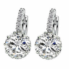 Sterling Silver Topaz SWAROVSKI ELEMENTS CRYSTAL Stud Hood Earrings Gift Box K37