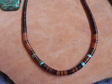 "Turquoise, Light & Dark Penshell Heishi Rolled Necklace 16 1/4"" Santo Domingo"