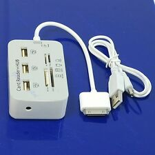 SD MMC MS Memory Card Reader Camera Connection+ 3 Port USB HUB Kit For iPad 1/2