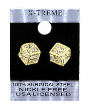 Gold Iced Out Hip Hop Dice Shape CZ Mens Stud Bling Earrings