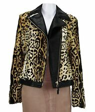 NEW ETRO LAMB LEOPARD PRINT LEATHER MOTO  JACKET 42 - 6
