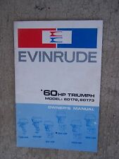 1970 Evinrude Outboard Motor 60 HP Triumph 60172  60173 Owner Manual Boat  S