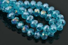 Bulk 20pcs 12x8mm Rondelle Faceted Loose Spacer Crystal Glass Beads Sky Blue AB