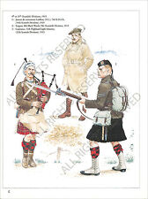 PLANCHE UNIFORMS PRINT WWI HIGHLANDS  BAGPIPE LAIDLAW BLACK WATCH LIGHT INFANTRY