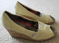 Womens Yellow Pinstriped TOMS Size W 9 Cork Wedge Peep Toe High Heel Shoes