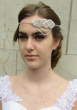 Silver Rhinestone Bridal Headpiece Headband 1920s Great Gatsby Diamante 1930 B26