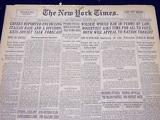 1940 NOVEMBER 4 NEW YORK TIMES - ROOSEVELT ASKS TIME FOR ALL TO VOTE - NT 329