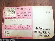Cartolina biglietto lotteria Italia 1973 Canzonissima Rai Radiotelevisione Italy
