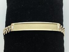 "Men's 14k Solid Yellow Gold 8"" Flat Cuban Link Chain ID Bracelet 24.9 grams 9 MM"