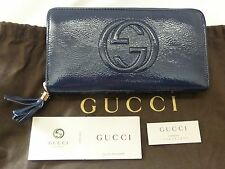 NWT Gucci  Soho Tassel Patent Leather Zip Around Continental Wallet, Navy