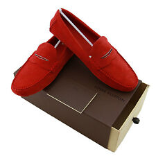 Louis Vuitton Men Shade Car Moccasins & Drivers Suede Rouge Shoes US 10 IT 43