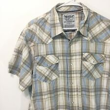 XL LEVI STRAUSS & CO Men's Plaid Short Sleeve Shirt Blue Khaki