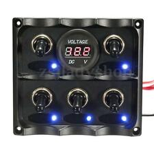 5 Gang LED Toggle Switch Panel Digital Battery Voltmeter Caravan RV Boat Marine