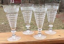 4 Cut Glass Etched Fluted Champagnes Sinclaire #40