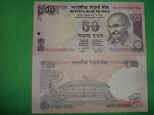 "INDIA PAPER MONEY- ""MG"" CURRENCY NOTE-STAR "" * "" SERIES-RS. 50/- 2012-F-S 13#EAB"