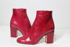 NEW NWT *ZARA* RED LEATHER BLOCK HIGH HEEL ANKLE BOOTS 8 39 NIB RARE!