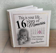 "Personalised large photo album, 200 x 7x5"" photos, 16th birthday memory book."