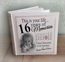 "Personalised large photo album, 200 x 7x5"" photos, 16th birthday memory book."