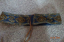 womens blue denim beaded tie belt