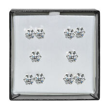 Silvertone Surgical Steel Clear Cubic Zirconia Stud Earring Gift Set (5 pair)