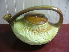 Vintage McCoy Pottery Brown green Glaze Woodland Daisy Tea Pot