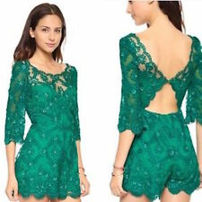 NWT FREE PEOPLE EMERALD SONGBIRD LACE ROMPER 2 $300
