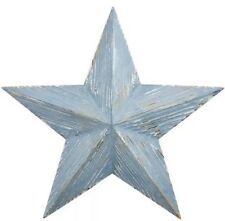 Shabby Chic Distressed Rustic Blue Wooden HANGING STAR Wall Art next day desp
