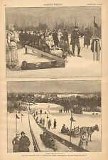 The New Toboggan Slide At Orange, New Jersey, Winter, Vintage 1886 Antique Print