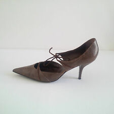 Sergio Rossi EU 40.5 41 lizard mid-high brown shoes Manolo Blahnik style