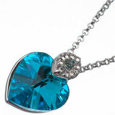 6.78 Ct Heart Cut Style Shape Blue Topaz CZ 18K White Gold Plated Pendant