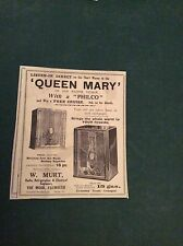 G1-1  Ephemera 1936 advert queen mary 1st voyage radio murt falmouth philco