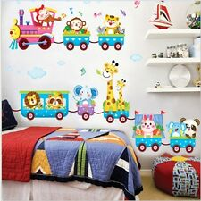 Children's 3D Jungle Animal Train -Printed Wall Art Vinyl Stickers Decal Decor Z