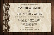 Wedding Invitations Wood Lace Background 50 Invitations & RSVP Cards Any Colors