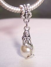 Mermaid Beige Pearl Beach Ocean Dangle Bead fits Silver European Charm Bracelets