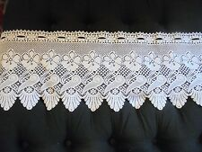 Heritage Lace White Scalloped Seashell Floral Lace Valance Vintage Cottage