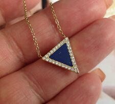 New Michael Kors Gold Lapis Pave Blue Triangle Necklace, Retail $125