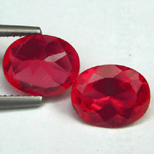 10x12 2pcs PAIR AWESOME PIGEON BLOOD RED RUBY OVAL GEM