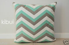 Chevron Home Decor Cushion Cover 100% Cotton Light Grey/Green 45cm Kibui NEW