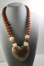 VINTAGE MOSAIC MOP MOTHER OF PEARL HEART PENDANT . AMBER PLASTIC BEAD NECKLACE