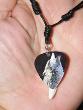 """GRAY WOLF NECKLACE HOWLING & WHITE TOOTH Coyote Teeth Choker 16""""- 29"""" Adjust NEW"""