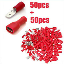 100PC Electrical Wire Connector Assorted Insulated Crimp Terminals Spade Red Set