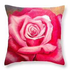"Made in the USA. Art on a Pillow ""Rose"" Throw Pillow Cushion Cover 100% Cotton"