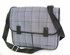 $148 Fossil Mens Mercer EW City Black Gray Red Plaid Bag Messenger Crossbody