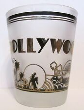 HOLLYWOOD  BLACK & GOLD TONED SHORT SHOT GLASS  CAMERA, PALM TREES & MORE