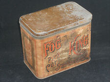 Antique Fog King Plug Cut Tobacco Tin Brown Bros. Winston NC 1880's Paper Label