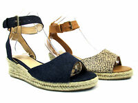 NEW WOMENS ESPADRILLES FLAT LOW WEDGE HEEL BUCKLE STRAP SUMMER SHOE SANDALS SIZE