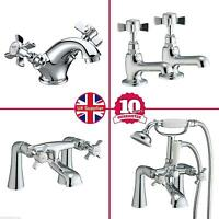 GRAND TRADITIONAL VICTORIAN SINK BASIN MONO BATH FILLER SHOWER CHROME CROSS TAPS
