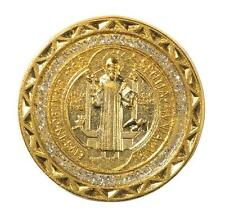 "Saint St Benedict of Nursia Protection Medal 1 1/2"" Gold Plate Pocket Token Coin"