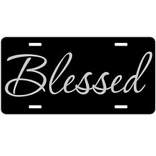 Personalized Car Tag - Blessed Christian Car Tag - Custom Auto Tag Vanity Black