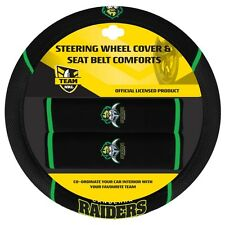 84046 CANBERRA RAIDERS NRL CAR STEERING WHEEL COVER & SEAT BELT COMFORTS PADS
